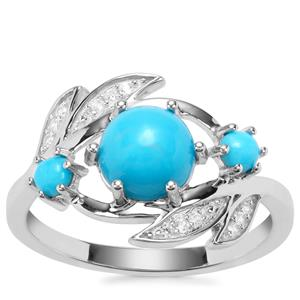 Sleeping Beauty Turquoise Ring with White Zircon in Sterling Silver 1.67cts