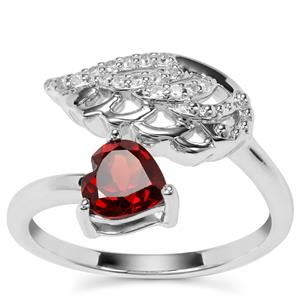 Zambian Garnet Ring with White Zircon in Sterling Silver 1.02cts