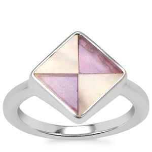Mother of Pearl Ring with Zambian Amethyst in Sterling Silver (8mm x 4mm)