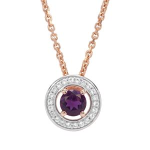 Ametista Amethyst & White Topaz Midas Rose Necklace ATGW 0.61cts