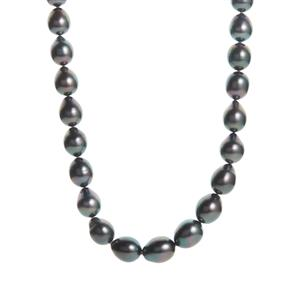 Tahitian Cultured Graduated Pearl Sterling Silver Necklace