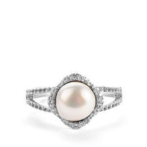 Kaori Cultured Pearl & White Topaz Sterling Silver Ring (7.5mm)