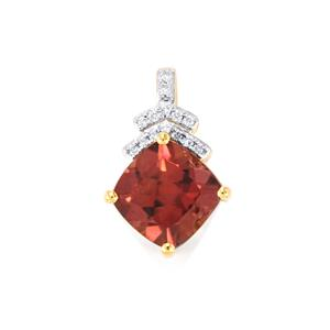 Zanzibar Zircon Pendant with Diamond in 18k Gold