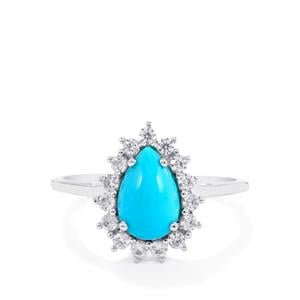 Sleeping Beauty Turquoise Ring with White Zircon in 14K White Gold 1.67cts