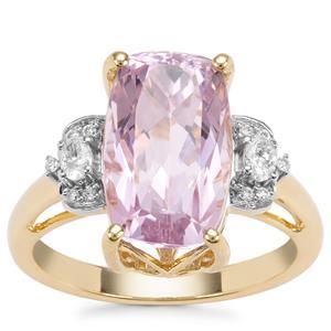 Kolum Kunzite Ring with Diamond in 18K Gold 7.04cts