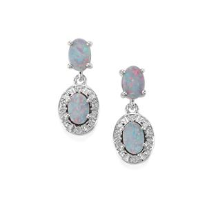 Crystal Opal on Ironstone & White Topaz Sterling Silver Earrings