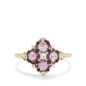 Sakaraha Pink Sapphire & White Zircon 9K Gold Ring ATGW 1.16cts