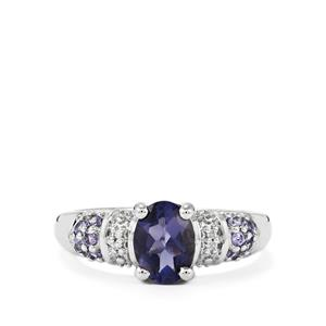 Bengal Iolite, Tanzanite Ring with Diamond in Sterling Silver 1.08cts