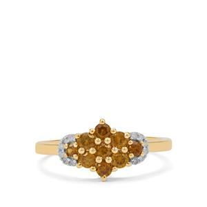 Apache Demantoid Garnet Ring with Diamond in 9K Gold 0.70ct