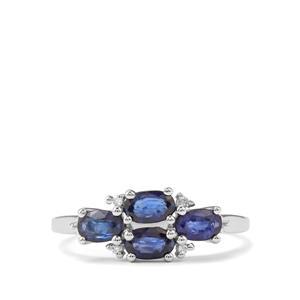 Sri Lankan Sapphire & Diamond 9K White Gold Ring ATGW 1.40cts