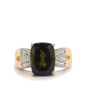 Green Tourmaline Ring with Diamond in 18K Gold 5.65cts