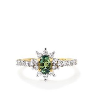 Green Sapphire & White Zircon 10K Gold Ring ATGW 1.28cts