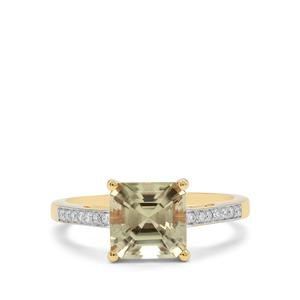 Asscher Cut Csarite® Ring with Diamond in 18K Gold 2.80cts