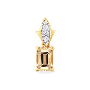 Rose Danburite & Ceylon White Sapphire 9K Gold Pendant ATGW 1.10cts