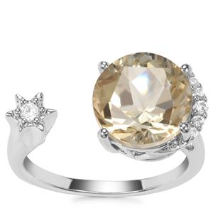 Lone Star Champagne Quartz Ring with White Zircon in Sterling Silver 4.19cts