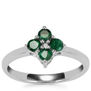 Santa Terezinha Emerald Ring with Diamond in Sterling Silver 0.51ct