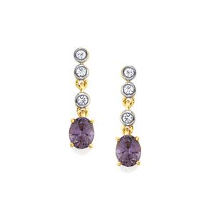 Mahenge Purple Spinel Earrings with White Zircon in 9K Gold 0.80cts