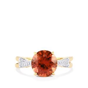 Zanzibar Sunburst Zircon Ring with Diamond in 14k Gold 3.92cts