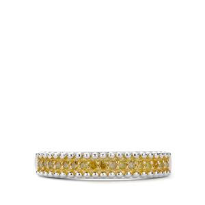 Yellow Diamond Ring in Sterling Silver 0.15ct