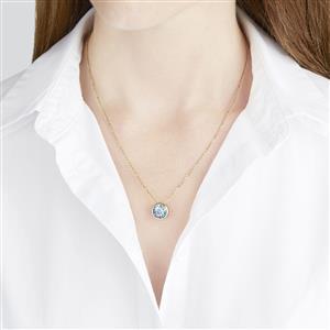 3.57ct Lehrer QuasarCut Swiss Blue Topaz 10K Gold Pendant Necklace