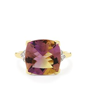 Anahi Ametrine Ring with White Zircon in 10k Gold 5.95cts