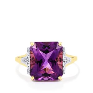 Moroccan Amethyst & Diamond 14K Gold Ring ATGW 5.30cts