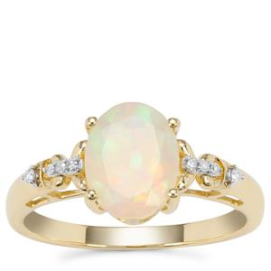 Ethiopian Opal Ring with Diamond in 9K Gold 1.05cts