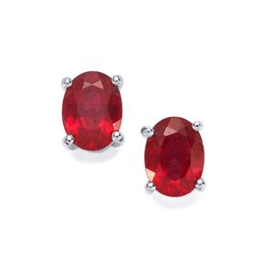 Malagasy Ruby Earrings in Sterling Silver 4.06cts (F)