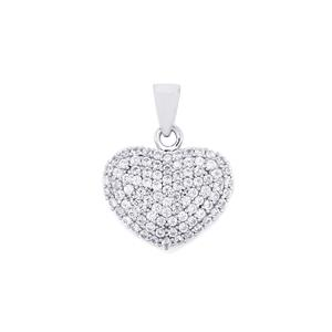White Zircon Pendant in Sterling Silver 2cts