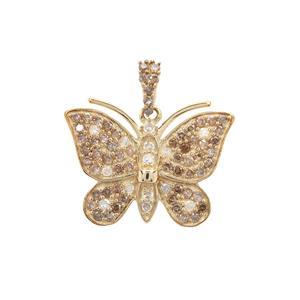 Cognac Diamond Pendant with White Diamond in 9K Gold 0.75ct