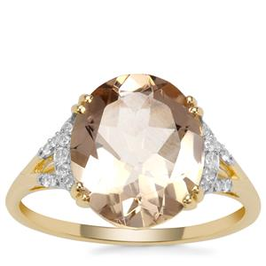 Champagne Danburite Ring with White Zircon in 9K Gold 4.31cts