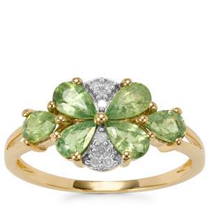 Ambanja Demantoid Garnet Ring with Diamond in 9K Gold 1.66cts