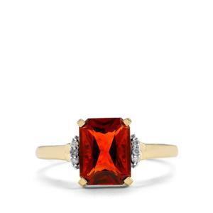 Madeira Citrine Ring with Diamond in 10K Gold 1.91cts