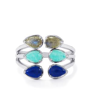 Natural Labradorite, Amazonite & Sar-i-Sang Lapis Lazuli Sterling Silver Ring ATGW 2.95cts