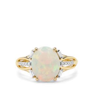 Ethiopian Opal & White Zircon 9K Gold Ring ATGW 1.98cts
