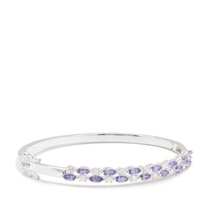 Tanzanite Bangle with White Zircon in Sterling Silver 2.86cts