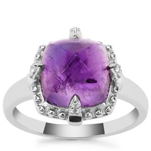Bahia Amethyst Ring with White Zircon in Sterling Silver 5.45cts