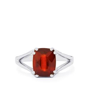 Hessonite Garnet Ring in Platinum Plated Sterling Silver 3.54cts