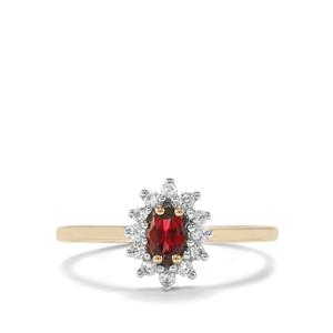 Burmese Red Spinel Ring with White Zircon in 10K Gold 0.53ct