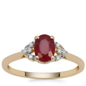 Malagasy Ruby Ring with Diamond in 9K Gold 1.22cts