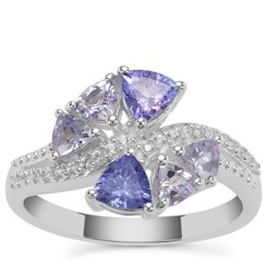 Tanzanite Ring with White Zircon in Sterling Silver 1.66cts