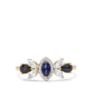 Sri Lankan Sapphire & White Zircon 9K Gold Ring ATGW 1.16cts