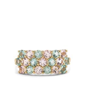 Aquaiba™ Beryl & Cherry Blossom™ Morganite 9K Gold Ring ATGW 1.79cts