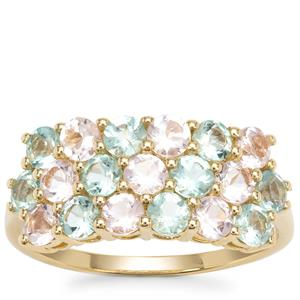 Aquaiba™ Beryl Ring with Cherry Blossom™ Morganite in 9K Gold 1.79cts