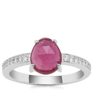 Rose Cut Moramanga Ruby Ring with White Zircon in Sterling Silver 1.71cts