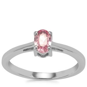 Pink Sapphire Ring in Sterling Silver 0.48ct