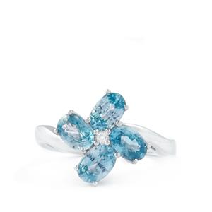 Ratanakiri Blue Zircon & White Topaz Sterling Silver Ring ATGW 3.11cts