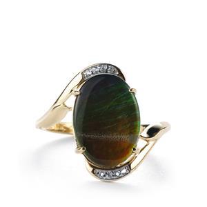 AA Ammolite (14x10mm) & White Zircon 10K Gold Ring