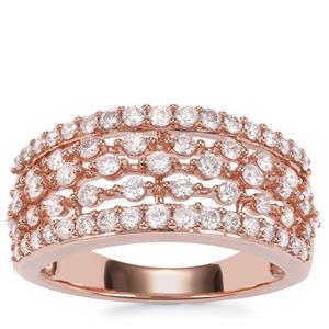 Pink Diamond Ring in 18K Rose Gold 1ct