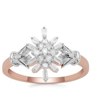 Diamond Ring in 9K Rose Gold With 18k White Gold Shoulder Part 0.26ct